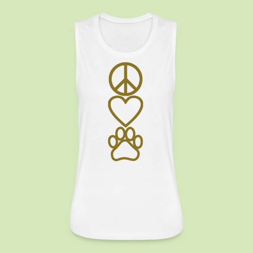 GIVE BACK- Peace Love Paws - Women's Flowy Muscle Tank by Bella