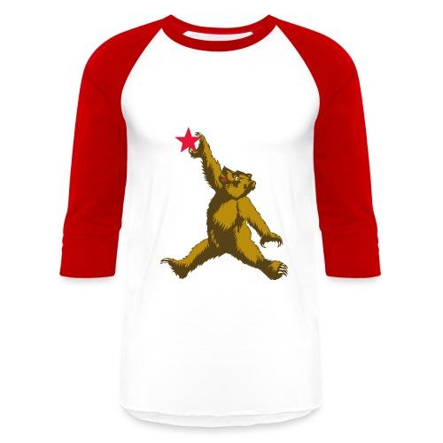 Cali Bear Getting Air - Baseball T-Shirt