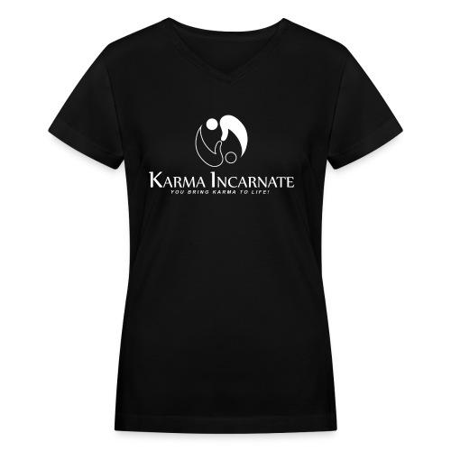 V-Neck Black and White Basic - Women's V-Neck T-Shirt