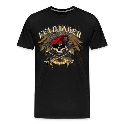 Feldjager Skull w/ Prussian Star - Men's Premium T-Shirt