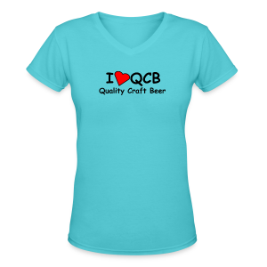 I Love QCB Women's V-Neck T-Shirt - Women's V-Neck T-Shirt