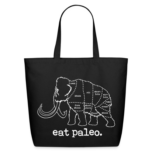 Woolly Mammoth Butcher Cut Paleo Diet Black Bag - Eco-Friendly Cotton Tote