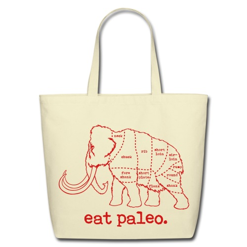 Woolly Mammoth Butcher Cut Paleo Diet Cream Bag - Eco-Friendly Cotton Tote