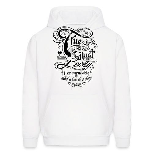Whatever is True Men's Hooded Sweatshirt - Black Motif - Men's Hoodie