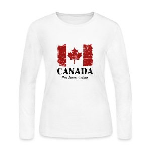 Canada Maple Leaf Flag - Vintage Look Long Sleeve Shirts - Women's Long Sleeve Jersey T-Shirt