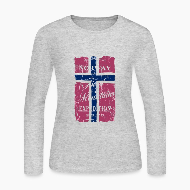 Norway fjord mountains long sleeve shirt spreadshirt for Mountain long sleeve t shirts