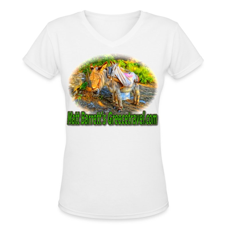 Greecetravel Donkey V-nck (women) - Women's V-Neck T-Shirt
