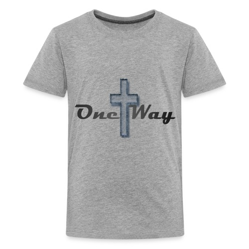 One Way Transparent Blue Cross - Kids' Premium T-Shirt