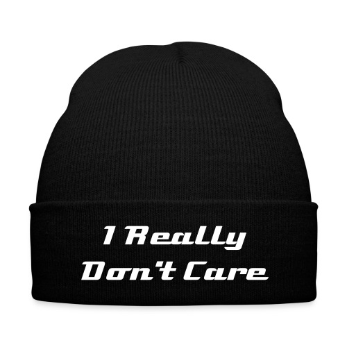 I Really Don't Care Knit Hat - Knit Cap with Cuff Print