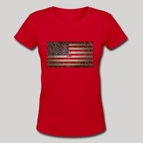US Flag distressed - Women's V-Neck T-Shirt