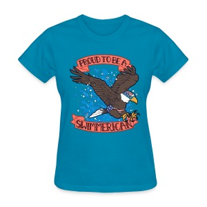 Proud To Be A Swimmerican BLUE - Women's T-Shirt