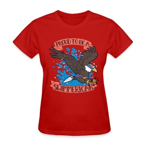 LADIES Proud To Be A Swimmerican RED - Women's T-Shirt