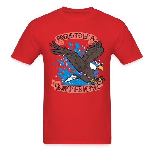 Proud To Be A Swimmerican RED - Men's T-Shirt