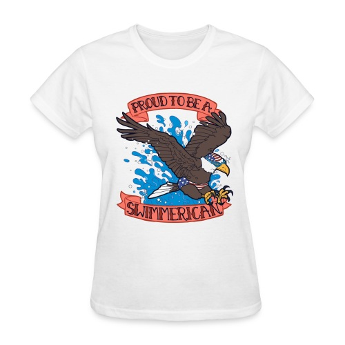 Ladies Proud To Be A Swimmerican WHITE - Women's T-Shirt