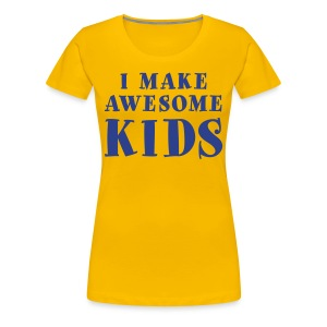 I Make Awesome Kids Women's Shirt - Blue on Yellow - Women's Premium T-Shirt