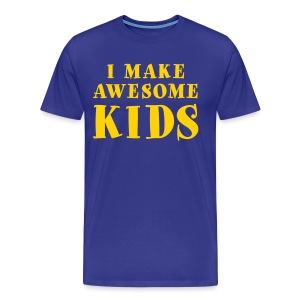 I Make Awesome Kids Men's Shirt - Yellow on Blue - Men's Premium T-Shirt