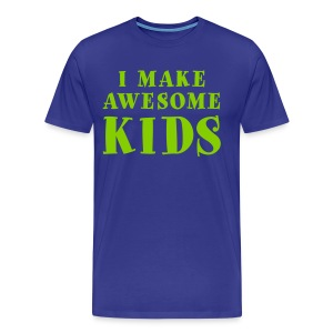 I Make Awesome Kids Men's Shirt - Bright Green on Blue - Men's Premium T-Shirt