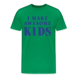 I Make Awesome Kids Men's Shirt - Blue on Green - Men's Premium T-Shirt