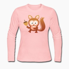 Smiling Little Squirrel Long Sleeve Shirts