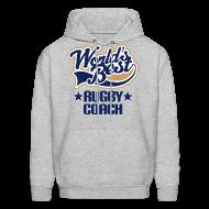 Hoodies ~ Men's Hoodie ~ Rugby Coach Mens Hoodie (Worlds Best)