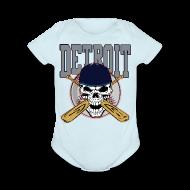 Baby & Toddler Shirts ~ Baby Short Sleeve One Piece ~ Baseball Skull