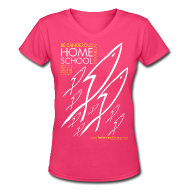 T-Shirts ~ Women's V-Neck T-Shirt ~ HOME SCHOOL (Multicolor on Pink Women's V-Neck) Version 2