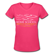 T-Shirts ~ Women's V-Neck T-Shirt ~ HOME SCHOOL (Multicolor on Pink Women's V-Neck) Version 1