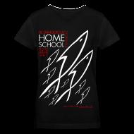 T-Shirts ~ Women's V-Neck T-Shirt ~ HOME SCHOOL (Multicolor on Black Women's V-Neck) Version 2