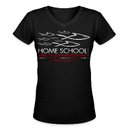 T-Shirts ~ Women's V-Neck T-Shirt ~ HOME SCHOOL (Multicolor on Black Women's V-Neck) Version 1