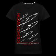 T-Shirts ~ Women's V-Neck T-Shirt ~ HOME SCHOOL (Multicolor on Black Women's V-Neck) Version 3