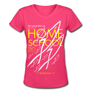 T-Shirts ~ Women's V-Neck T-Shirt ~ HOME SCHOOL (Multicolor on Pink Women's V-Neck) Version 4