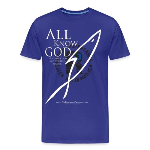 ALL KNOW GOD (Multicolor on Blue) Version 1 - Men's Premium T-Shirt