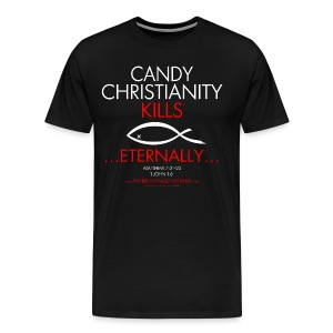 CANDY CHRISTIANITY KILLS (Multicolor on Black) Version 1 - Men's Premium T-Shirt