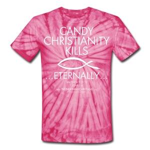 CANDY CHRISTIANITY KILLS (White on Red Tie Dye) Version 1 - Unisex Tie Dye T-Shirt