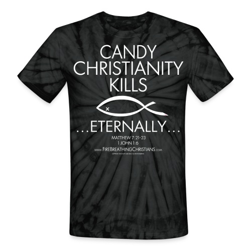 CANDY CHRISTIANITY KILLS (White on Red Tie Dye) Version 1 - Unisex Tie Dye T-Shirt