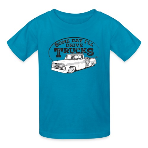 Kids 1963 Slammed C10 Longbed Stepside Tee (Black graphic) - Kids' T-Shirt