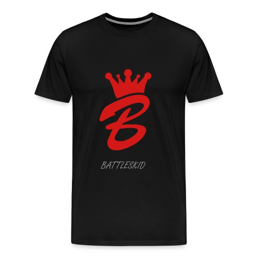 Battleskid Logo Shirt+ Text: Red And Grey On Black  - Men's Premium T-Shirt