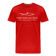 T-Shirts ~ Men's Premium T-Shirt ~ EVERY KNEE WILL BOW (Multicolor on red) Version 1