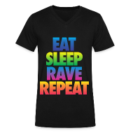 T-Shirts ~ Men's V-Neck T-Shirt by Canvas ~ Eat Sleep Rave Repeat