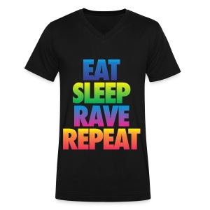 Eat Sleep Rave Repeat - Men's V-Neck T-Shirt by Canvas