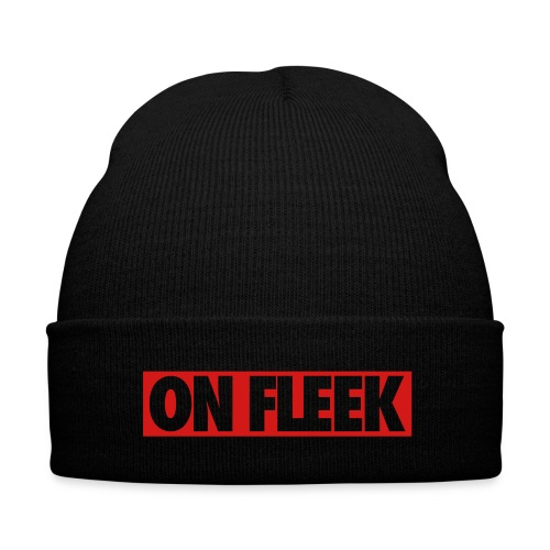 On Fleek Beanie - Knit Cap with Cuff Print