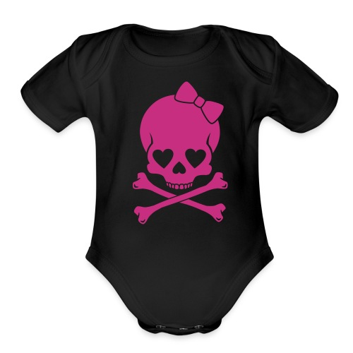 baby girl black & pink skull print  - Organic Short Sleeve Baby Bodysuit