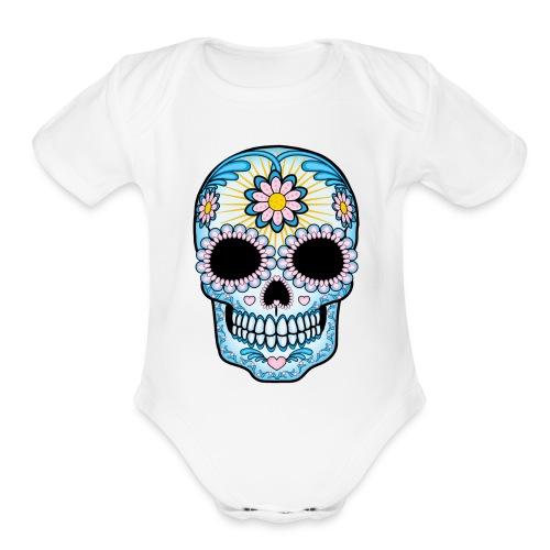 baby girl short sleeve romper skull print - Organic Short Sleeve Baby Bodysuit