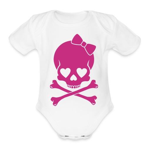 baby girl white &  pink skull print  - Organic Short Sleeve Baby Bodysuit