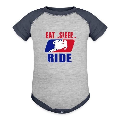 baby boy eat sleep ride romper - Contrast Baby Bodysuit