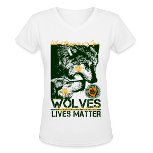 Wolves Lives Matter™ - Love Our Brother, Ma'iingan - Women's V-Neck T-Shirt