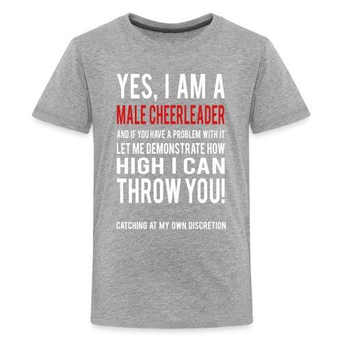 Male Cheerleader Kids Shirts- white text - Kids' Premium T-Shirt