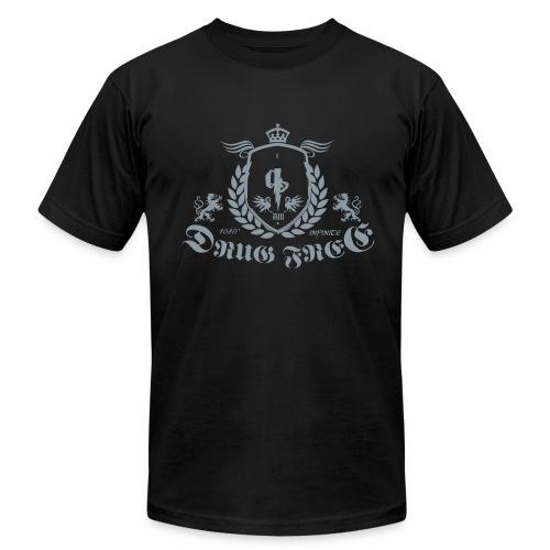 (Metallic Silver) 1080 Infinite Drug Free Logo  Tee - Men's Fine Jersey T-Shirt