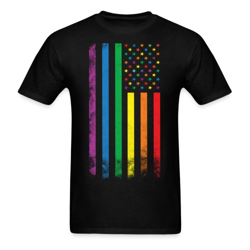 Rainbow American Flag - Men's T-Shirt