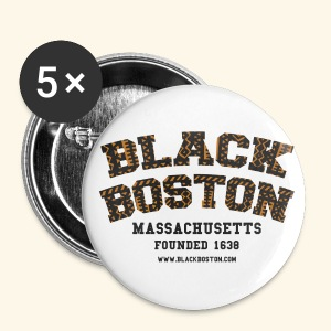 Souvenir Buttons labeled Black Boston Massachusetts - Large Buttons